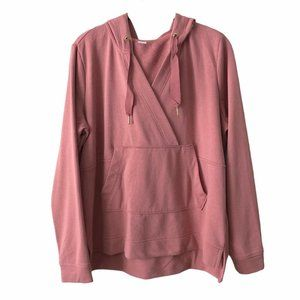 Pink Hooded Long Sleeve Oversized Sweater small